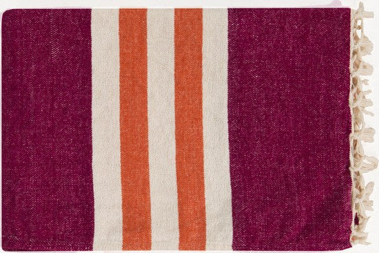 Toland Throw PLUM/IVORY/TANGERINE