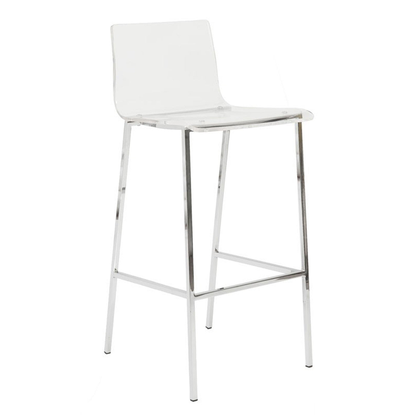 Crystal Clear Bar Stool Set of 2 ACRYLIC/CHROME