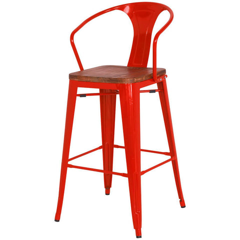 Grand Metal Bar Chair- Set of 4 RED