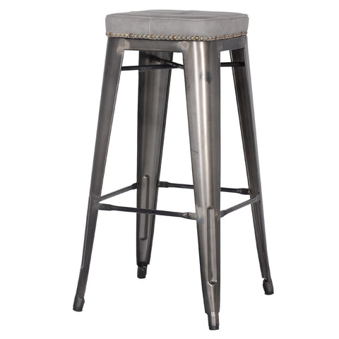 Grand Metal Padded Bar Stool- Set of 4 VINTAGE GREY