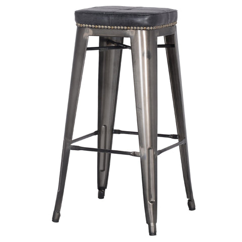 Grand Metal Padded Bar Stool- Set of 4 VINTAGE BLACK