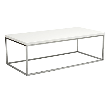 Kings Road Rect. Coffee Table WHITE/CHROME - Apt2B