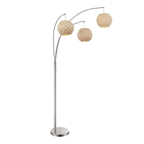 Triple Urchin Rattan Arch Lamp POLISHED STEEL - Apt2B