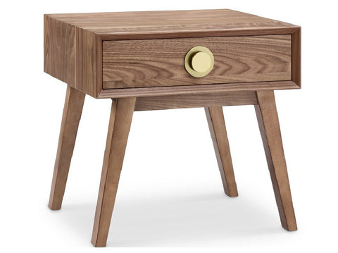 Victory 1 Drawer Side Table WALNUT/GOLD - Apt2B