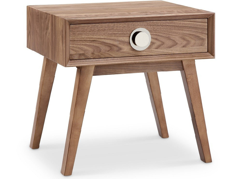 Victory 1 Drawer Side Table WALNUT/SILVER