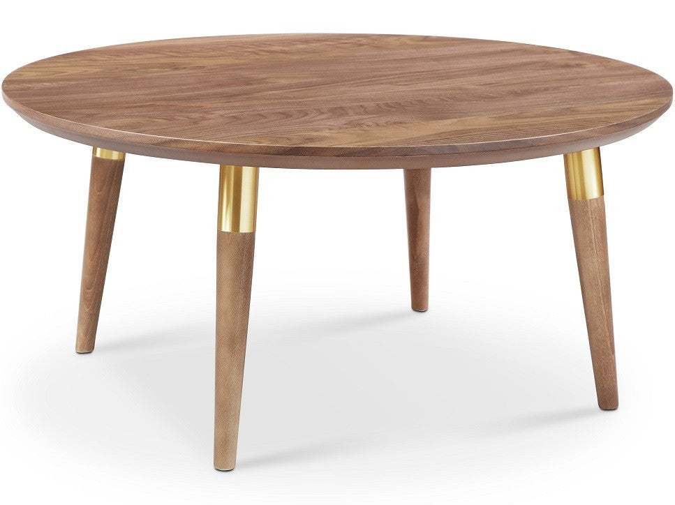 Walnut Gold Victory Round Coffee Table Apt2b