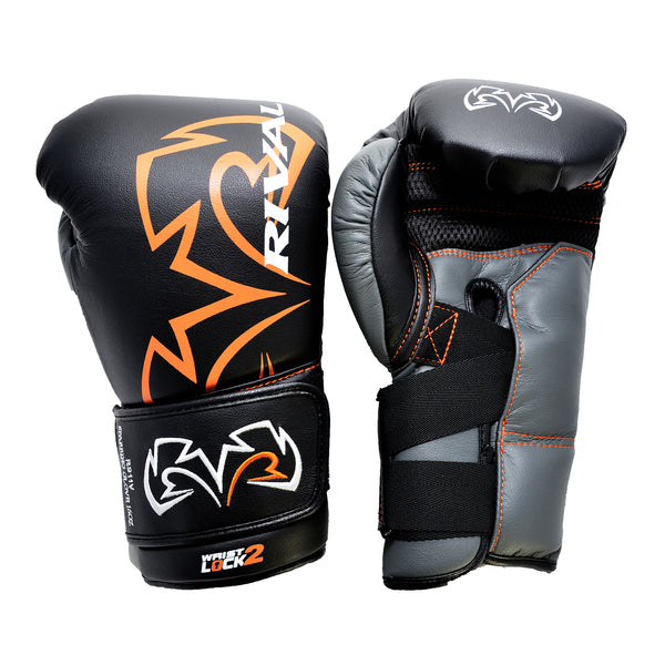 Rival Boxing Glove Black and Orange Cross Velcro