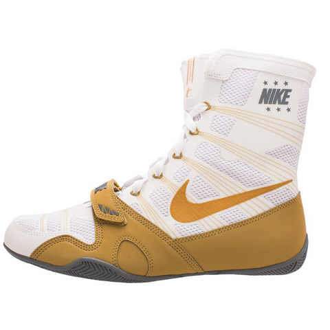 metodología Representar Espesar  NIKE HYPERKO BOXING SHOES NEW COLORS WHITE GOLD & NAVY SILVER – MSM FIGHT  SHOP