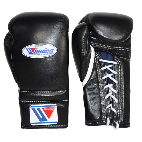 WINNING GLOVES LACE BOXING BLACK - MSM FIGHT SHOP