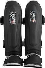 DRAGON DO SHINGUARDS BONE BLACK/SILVER - MSM FIGHT SHOP