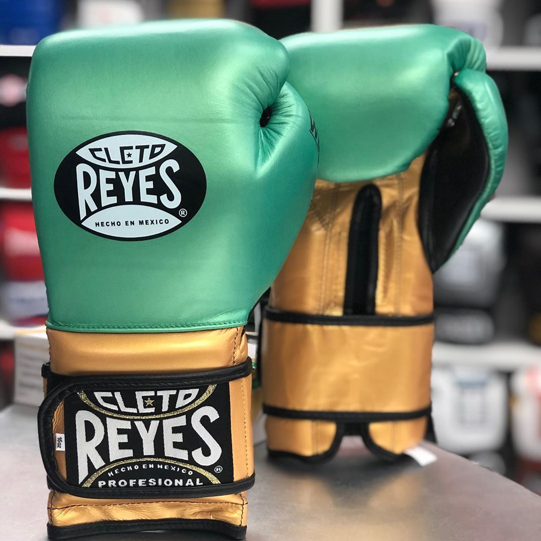 CLETO REYES GLOVES VELCRO TRADITIONAL WBC LIMITED EDITION  METALLIC GREEN/GOLD