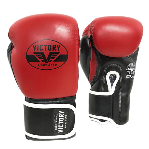 VICTORY GLOVES BOXING  ATTACK SERIES V2 LEATHER RED/BLACK