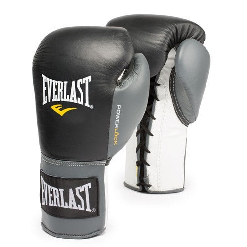 EVERLAST GLOVES POWERLOCK LACE BLACK/GREY - MSM FIGHT SHOP