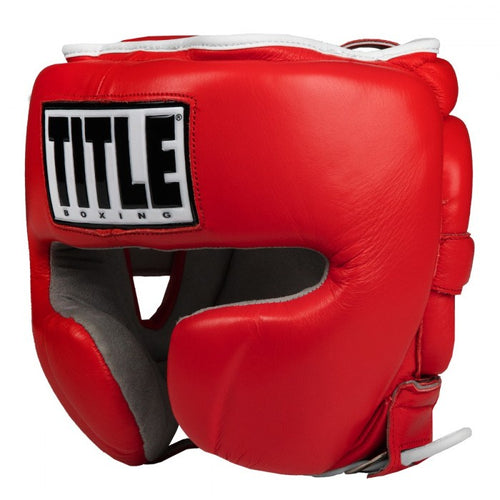 TITLE HEADGEAR LEATHER SPARRING JAPAN STYLE RED