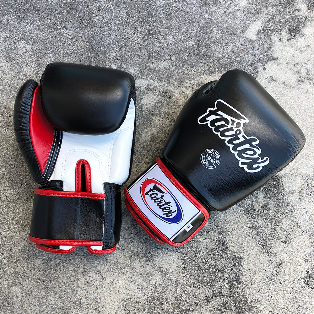 FAIRTEX GLOVES BGV1 LEATHER VELCRO BLACK/WHITE/RED