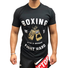 MSM SHIRT BOXING FIGHT HARD V2 BLACK / WHITE/GOLD