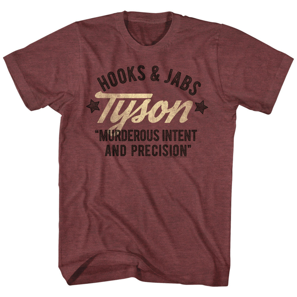 MIKE TYSON SHIRT HOOKS AND JABS BURGUNDY - MSM FIGHT SHOP