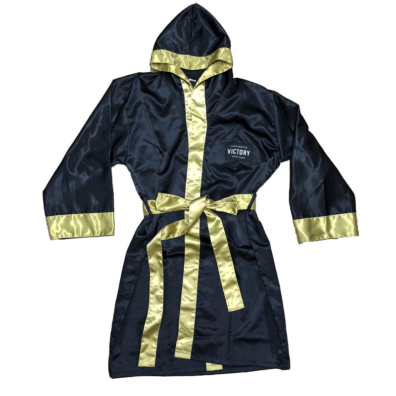 VICTORY BOXING ROBE WITH HOOD BLACK/GOLD
