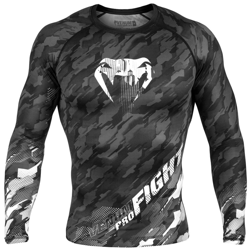 VENUM RASHGUARD TECMO L/S GREY/BLACK - MSM FIGHT SHOP