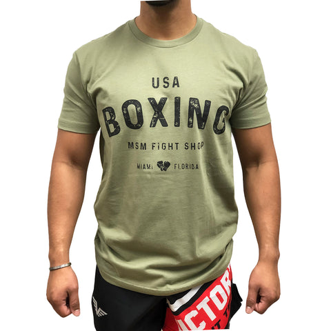 MSM SHIRT USA BOXING OLIVE GREEN / BLACK