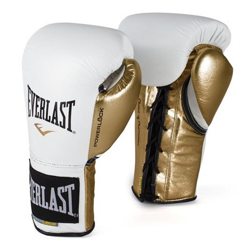 EVERLAST GLOVES POWERLOCK LEATHER LACE WHITE/GOLD - MSM FIGHT SHOP