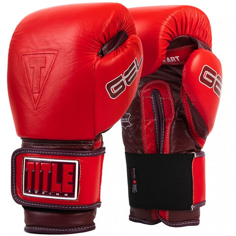 TITLE GLOVES GEL LEATHER VELCRO AHA RED - MSM FIGHT SHOP