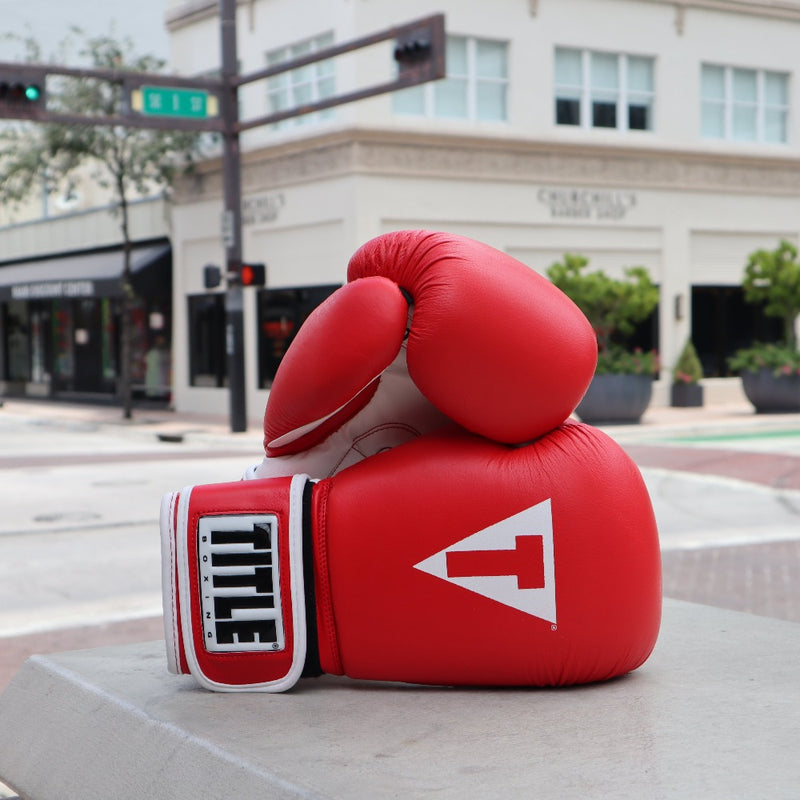 TITLE BOXING GLOVES LEATHER PUNCHING RED