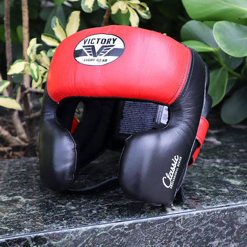 VICTORY HEADGEAR MEXICAN STYLE CHEEK LEATHER BLACK/RED O/S