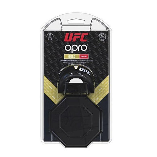 UFC MOUTHGUARD ADULT OPRO GOLD  W/ CASE BLACK