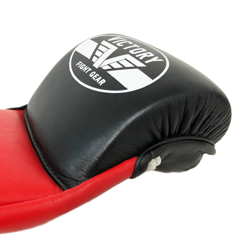 VICTORY MMA GLOVES SPARRING LEATHER BLACK/RED/WHITE