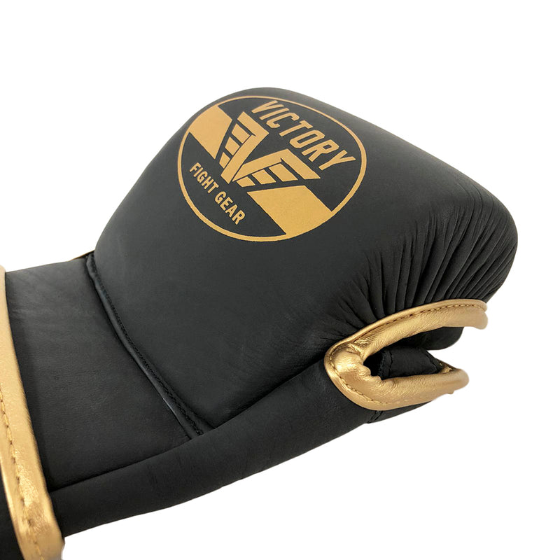 VICTORY MMA GLOVES SPARRING LEATHER BLACK/GOLD