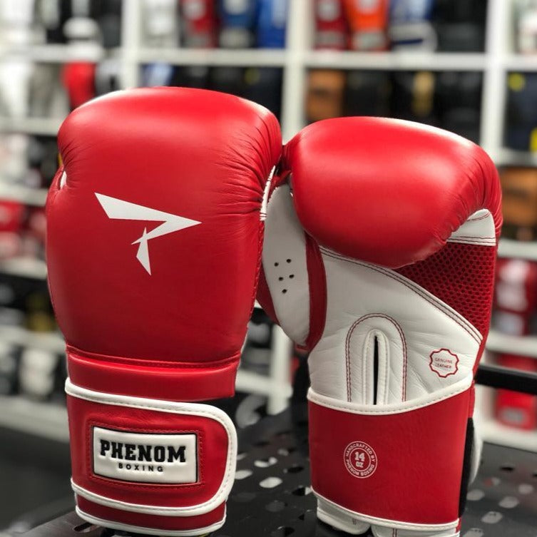 PHENOM BOXING GLOVES S4 LEATHER VELCRO RED