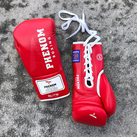 PHENOM BOXING FIGHT GLOVES ELITE XDF-200 LACE RED