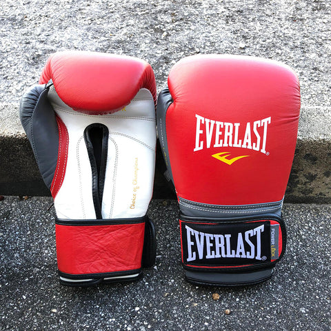EVERLAST GLOVES POWERLOCK VELCRO LEATHER RED/GREY