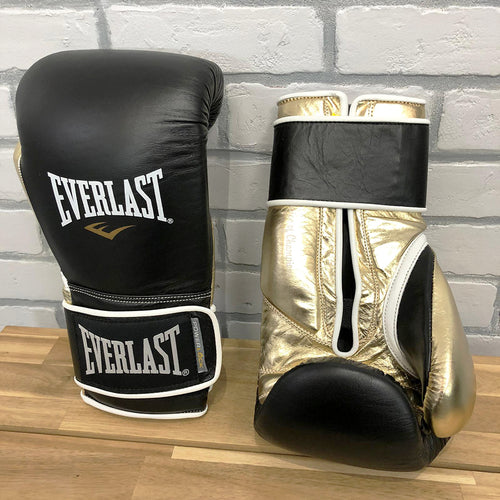 EVERLAST GLOVES POWERLOCK LEATHER VELCRO BLACK/GOLD