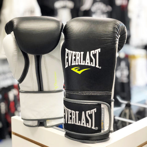 EVERLAST GLOVES POWERLOCK VELCRO LEATHER BLACK/WHITE