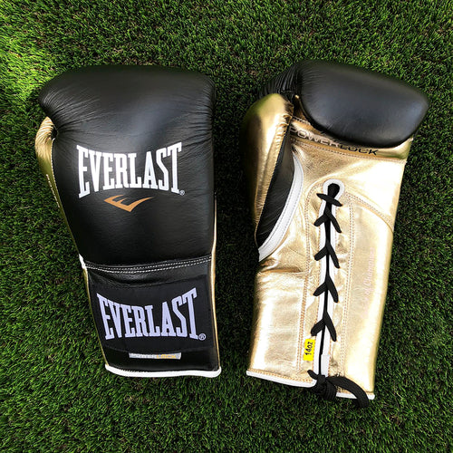 EVERLAST GLOVES POWERLOCK LACE LEATHER BLACK/GOLD