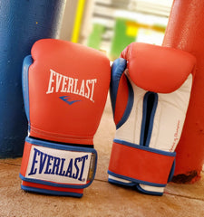 EVERLAST GLOVES POWERLOCK VELCRO LEATHER RED/BLUE