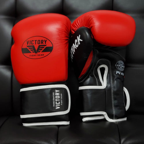 Victory Fight Gear Boxing Gloves Leather Red