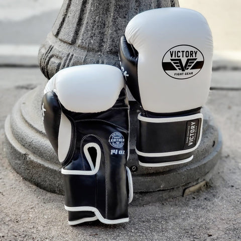 Victory Fight Gear Boxing White Leather Velcro Gloves