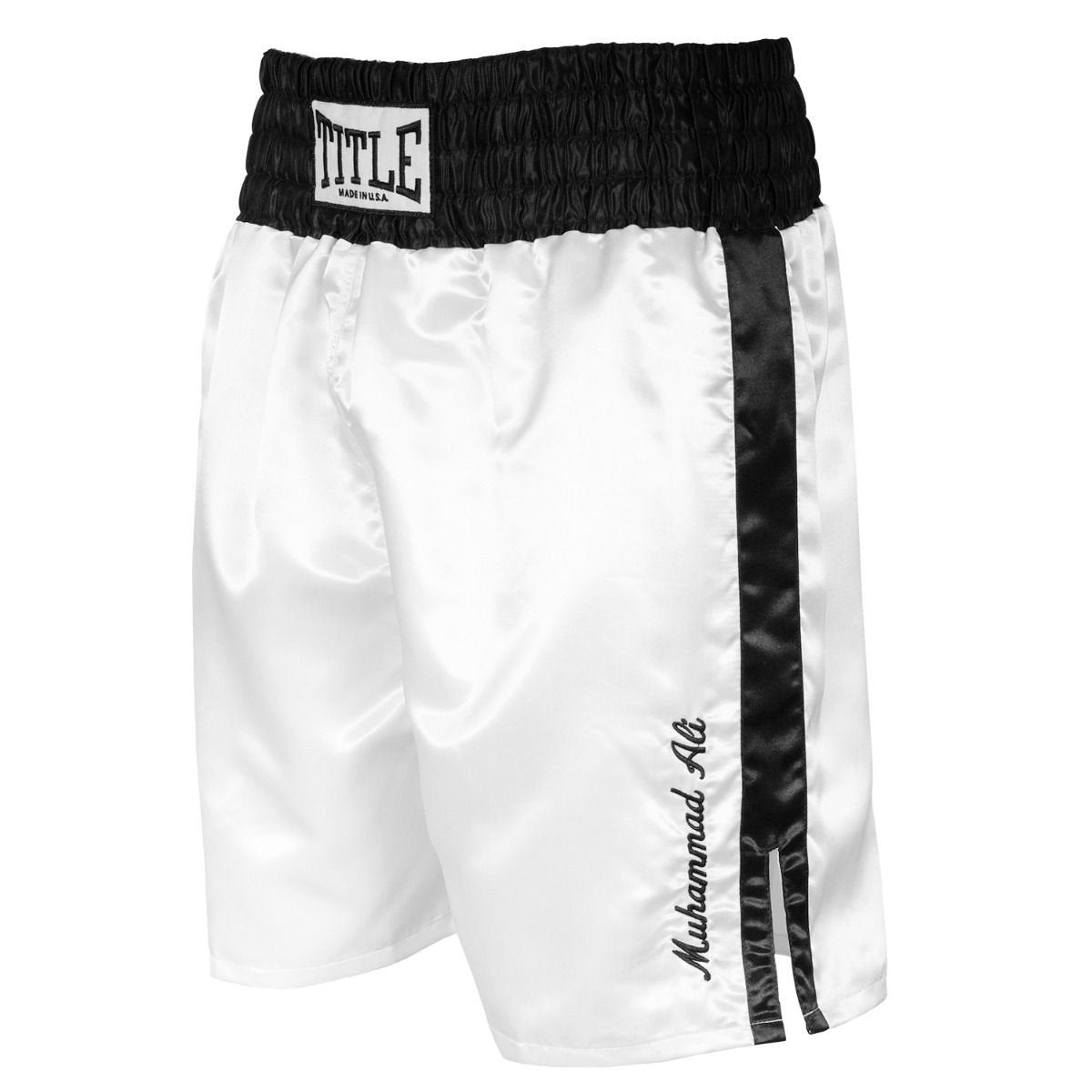 ALI BOXING SHORTS GREATEST IN THE 80'S WHITE/BLACK - MSM FIGHT SHOPTITLE BOXING