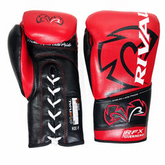 RIVAL GLOVES LACE RFX GUERRERO PRO FIGHT GLOVES RED/BLACK - MSM FIGHT SHOP