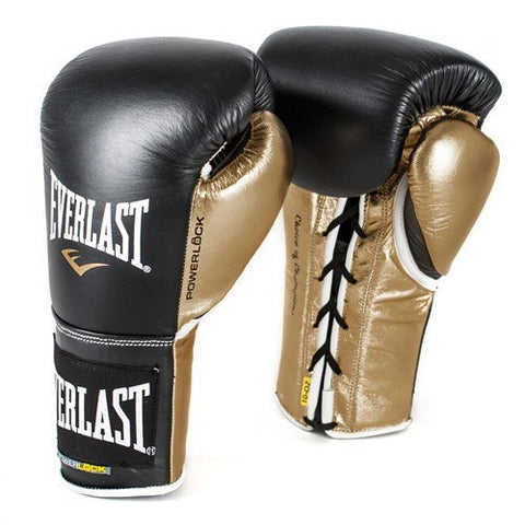 EVERLAST GLOVES POWERLOCK LACE LEATHER BLACK/GOLD - MSM FIGHT SHOP