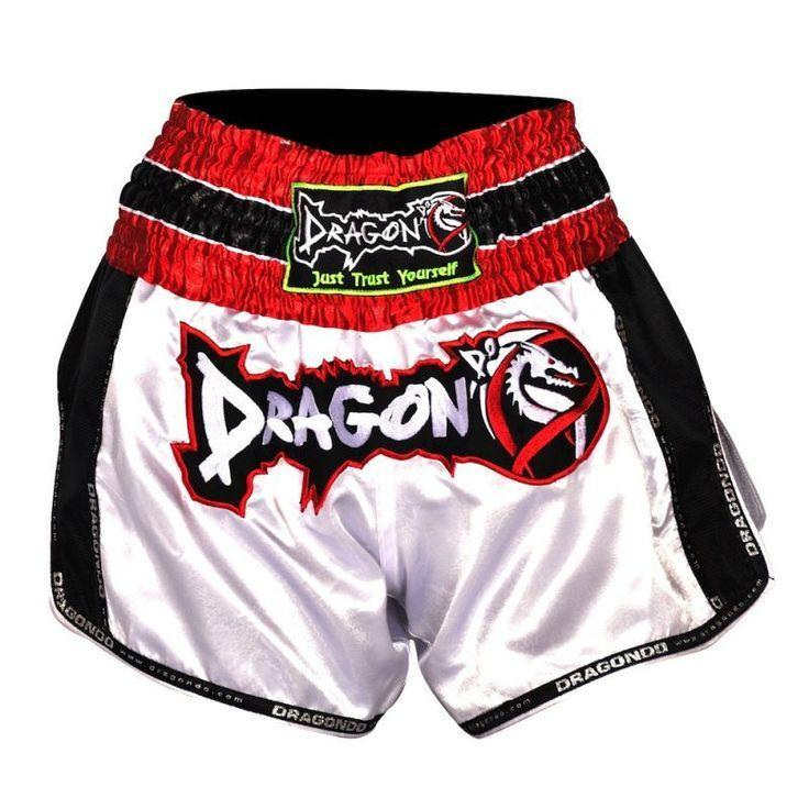 DRAGON MUAY THAI SHORTS RETRO WHITE/BLACK - MSM FIGHT SHOPDRAGON DO