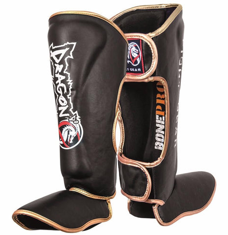 DRAGON SHINGUARDS BLACK GOLD - MSM FIGHT SHOPDRAGON DO