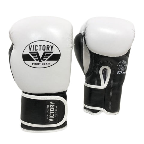 VICTORY GLOVES BOXING ATTACK SERIES V2 LEATHER - WHITE/BLACK