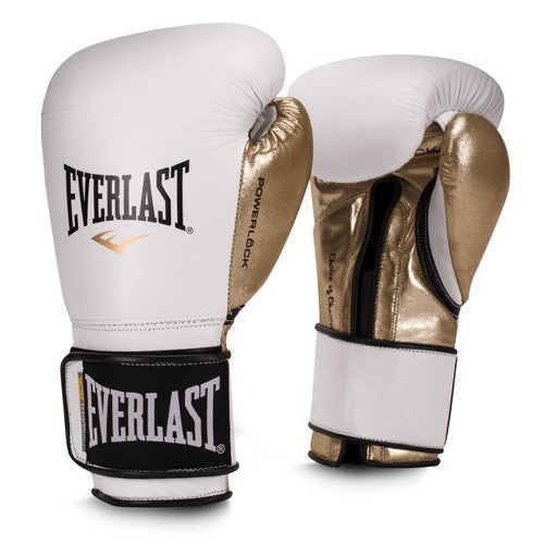 EVERLAST GLOVES POWERLOCK VELCRO LEATHER WHITE/GOLD - MSM FIGHT SHOP
