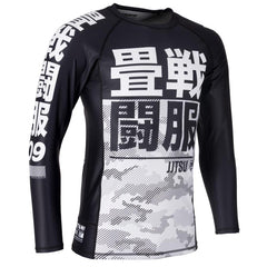 TATAMI RASHGUARD ESSENTIAL CAMO L/S - BLACK WHITE - MSM FIGHT SHOP