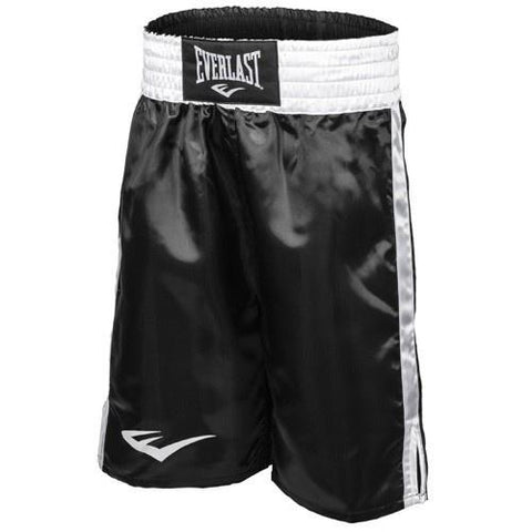 EVERLAST BOXING SHORTS BLACK/WHITE - MSM FIGHT SHOPEVERLAST