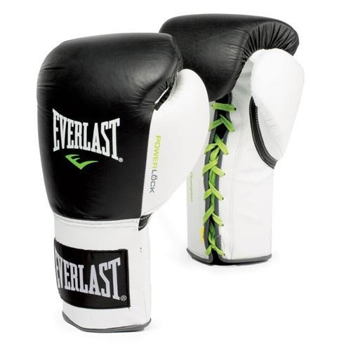 EVERLAST GLOVES POWERLOCK LACE LEATHER BLACK/WHITE - MSM FIGHT SHOPEVERLAST